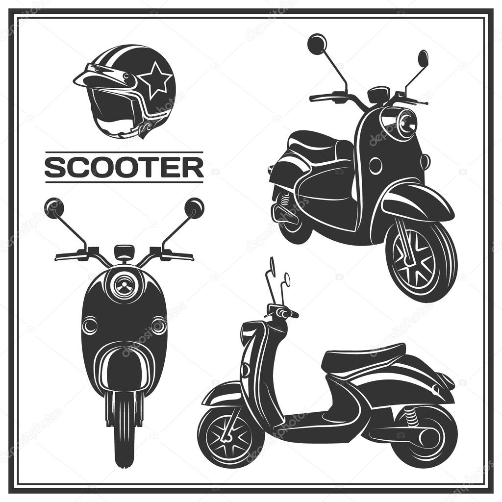 scooter silhouette set vector illustration stock vector c galimovma79 119001904 https depositphotos com 119001904 stock illustration scooter silhouette set vector illustration html
