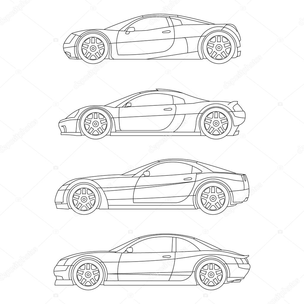 Sport Muscle Car Outline Drawing Red Flat Icon Vector Stock Vector