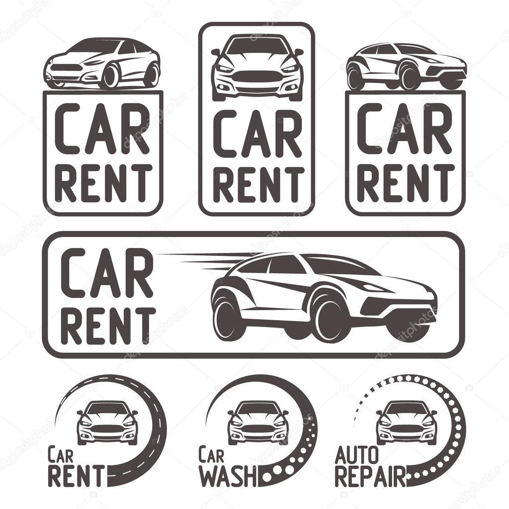 Lavado de reparación de coches de alquiler Logo plantilla diseño ...