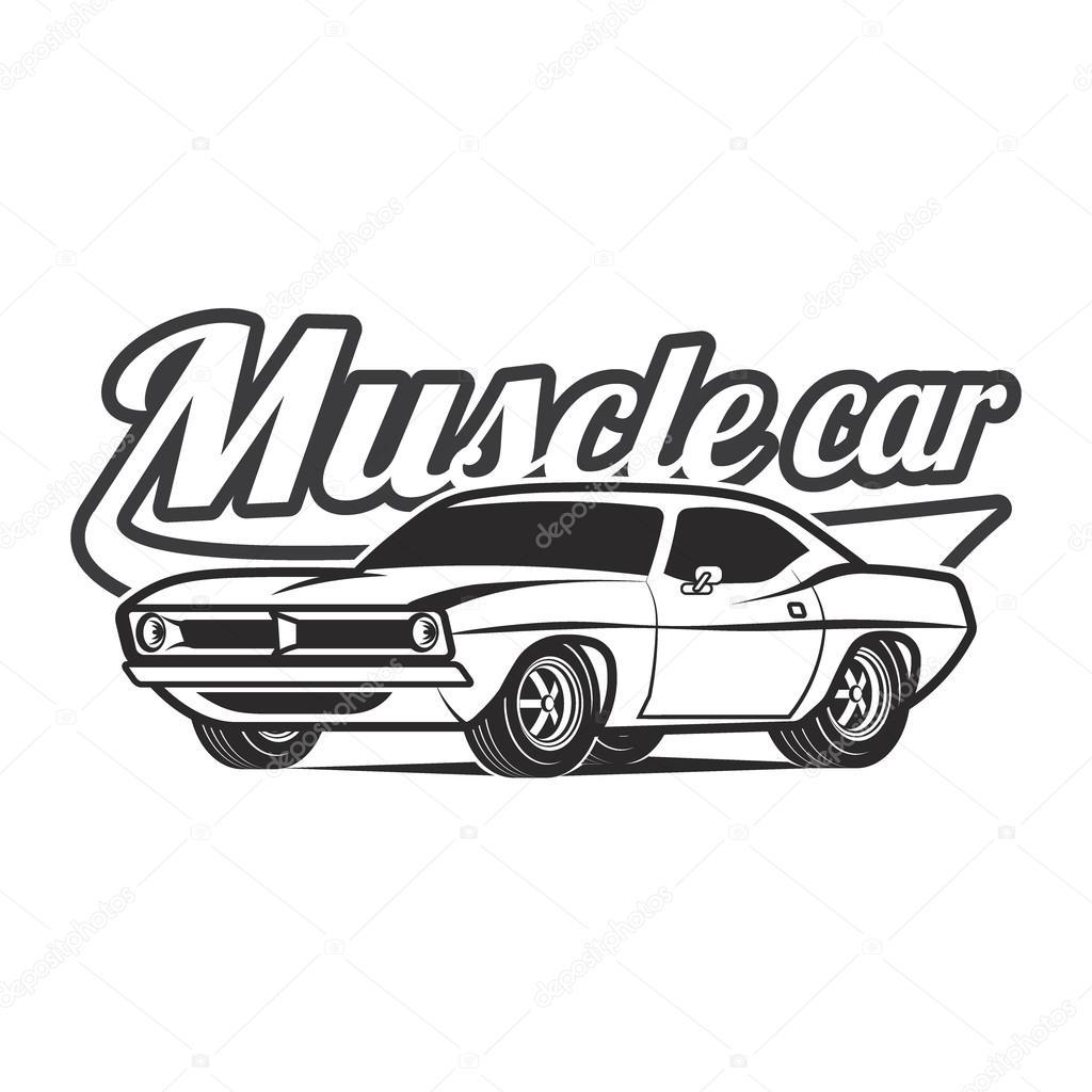 Muscle Car Cartoon Classic Vector Poster T Shirt Print Stock