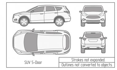 car sedan and suv drawing outlines not converted to objects