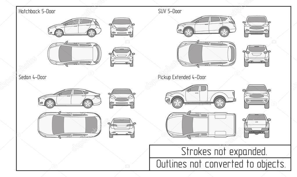 Coche sed n y suv contornos no convertidas a los objetos - Vehicle exterior inspection checklist ...