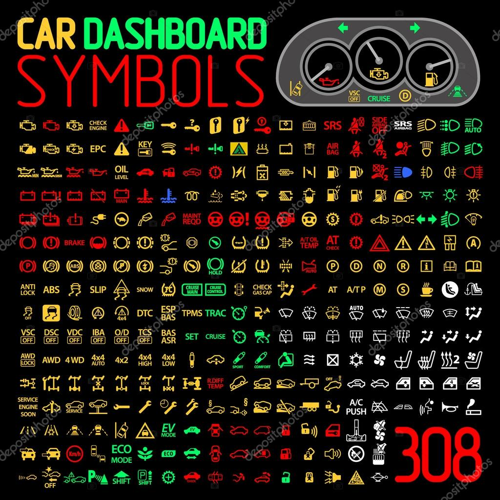 vector collection of car dashboard panel indicators and