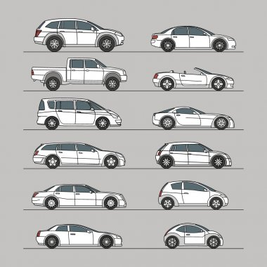car icon set white