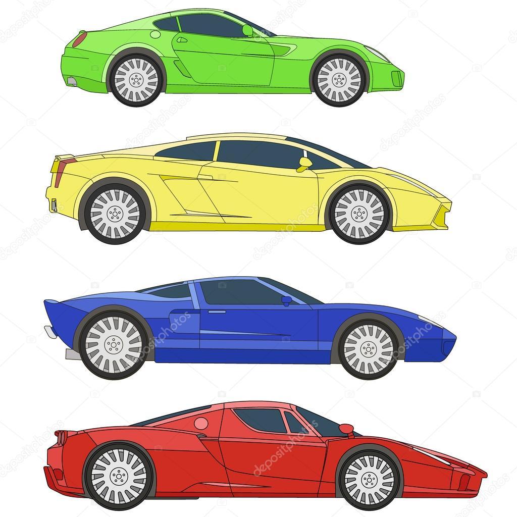 deporte coches serie vector set para colorear — Archivo Imágenes ...