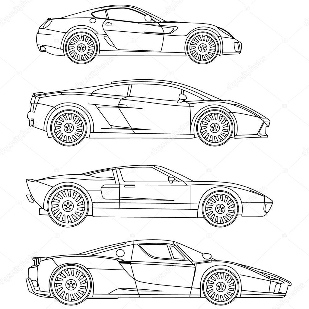 esporte carros série vector conjunto para colorir vetor de stock