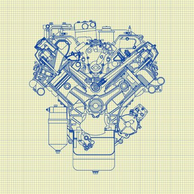Drawing old engine on graph paper. Vector background stock vector
