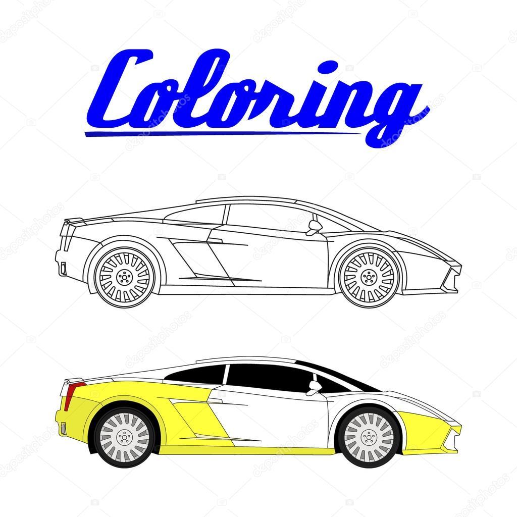 ilustração em vetor de carro esporte livro para colorir vetores