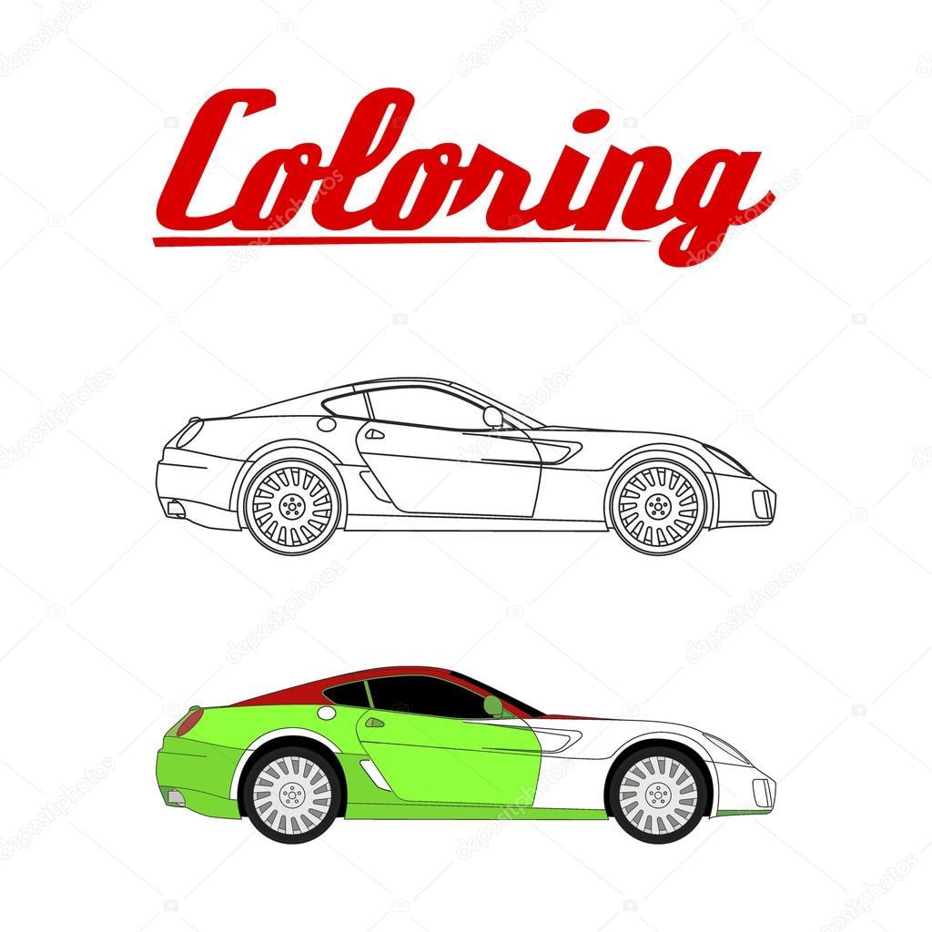 Vektör çizim Spor Araba Boyama Kitabı Stok Vektör Galimovma79