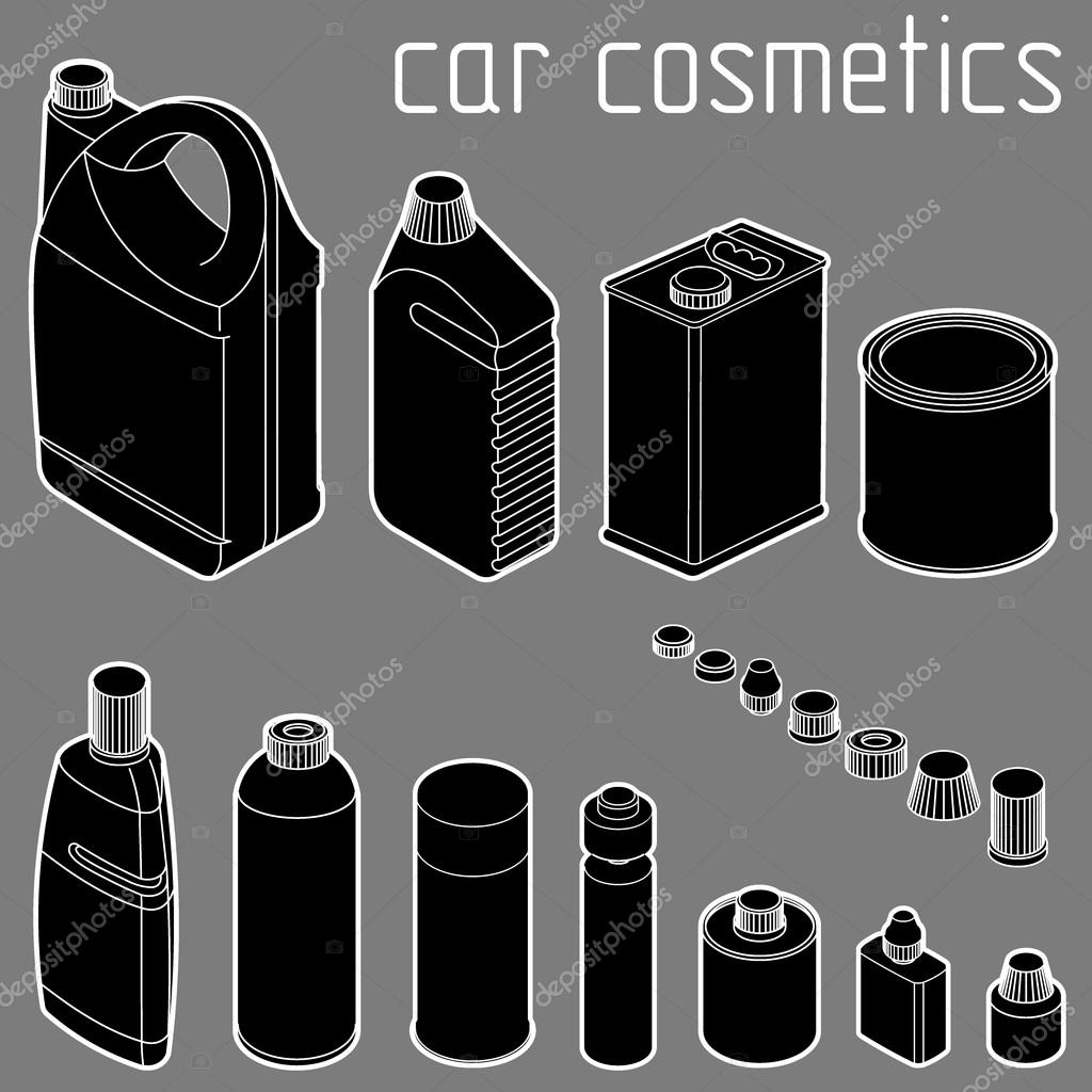 car motor and engine oil cans, anti freeze, water and tire glue bottles. isometric vector design concept. Car cosmetics and transportation related products.
