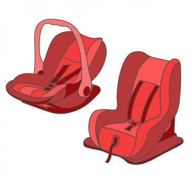 Red baby car seats set