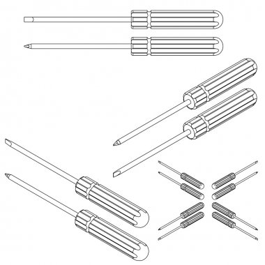 set tools isometric on a white background