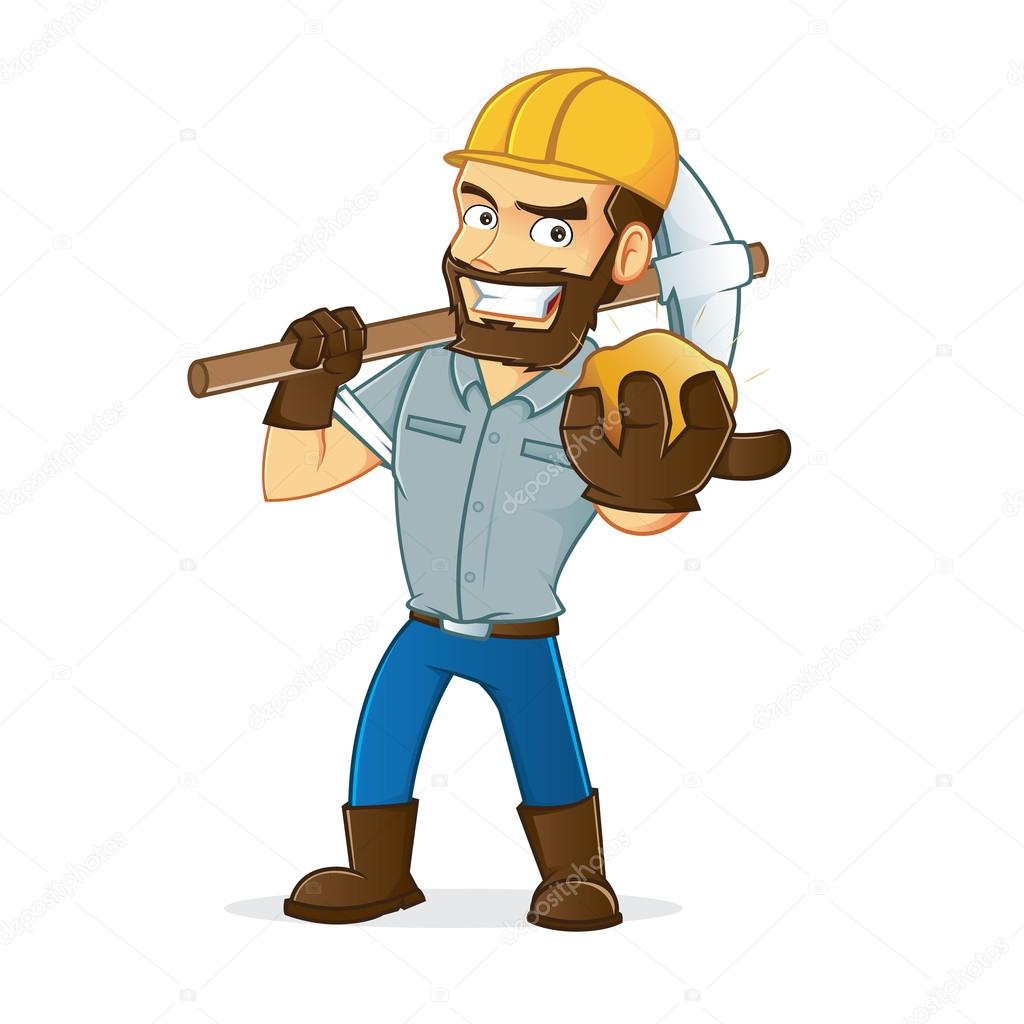 Miner holding gold and carrying pickax