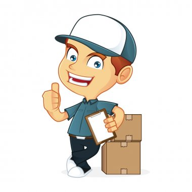 Deliveryman leaning on package boxes