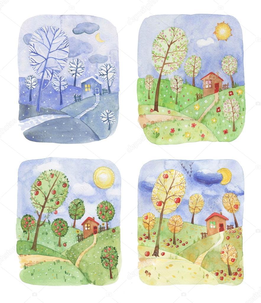 illustratie van een landschap in vier seizoenen