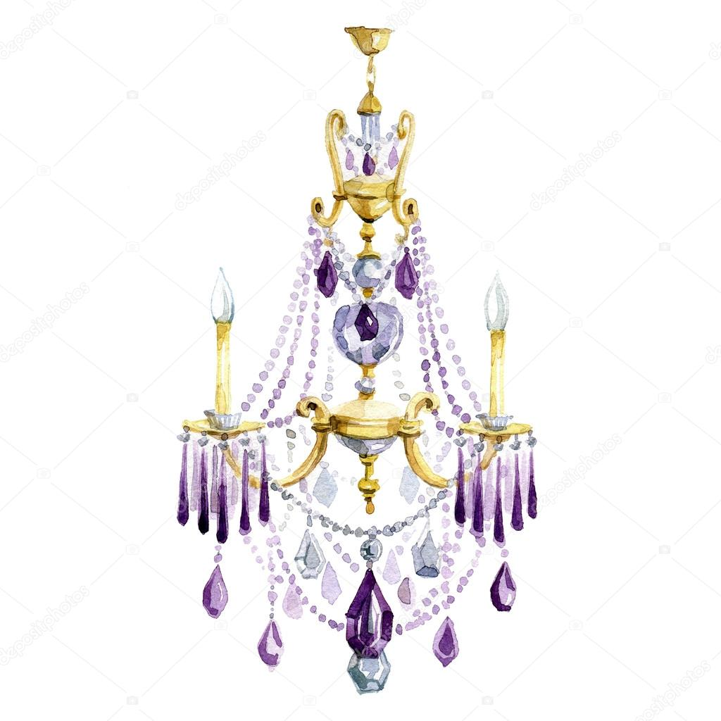 Classic chandelier with purple crystal watercolor illustration classic chandelier with purple crystal watercolor illustration aloadofball Images
