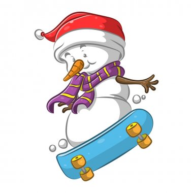 The illustration of the snowman using the purple scarf playing the skateboard icon