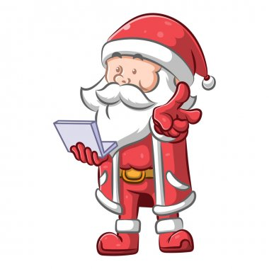 The illustration of the man using the Santa Claus costume and he holding a small laptop icon