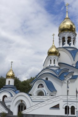 The gilt dome of the Orthodox church.