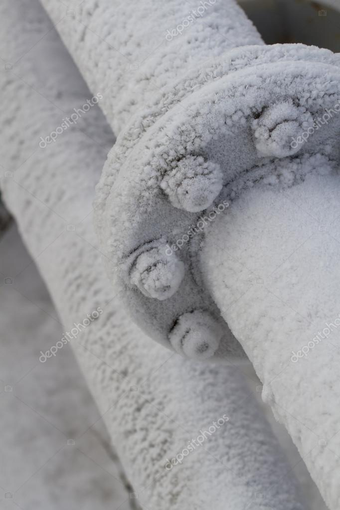 Pipes covered with frost.