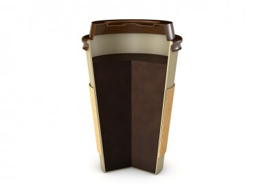 Takeaway coffee cup section with lid and coffe inside isolated