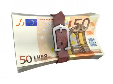 Belted stack of euro money banknotes