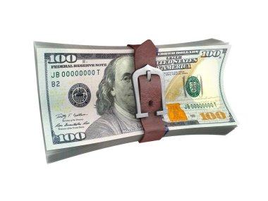 Belted stack of dollars banknotes