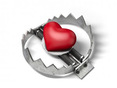 Red heart in the bear metal trap. 3D concept of love trap.
