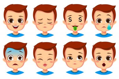 Cute boy facial expression set icon