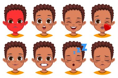 Cute African boy with different facial expression set icon
