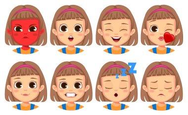 Girl facial gestures set Vector icon