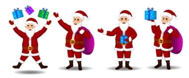 Christmas Santa Claus character set icon