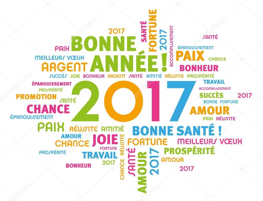 Greeting card in french language stock vector titoonz 122270112 colorful greeting french words around 2017 year type isolated on white vector by titoonz m4hsunfo