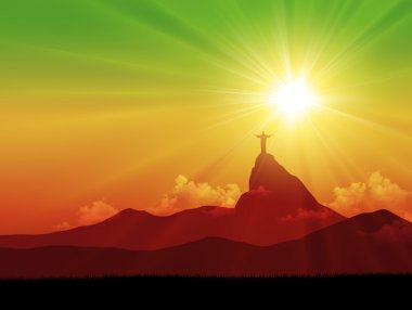 Brazilian landscape with the Corcovado silhouette