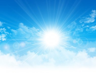 Sun light breaking through white clouds in blue sky stock vector