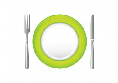 Green plate with knife and fork.
