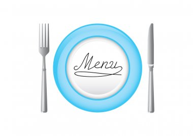 Blue plate with knife and fork.