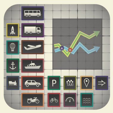 Graph background including transport symbols