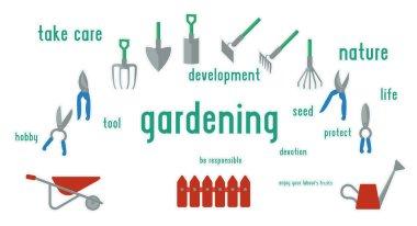 Gardening tools set of illustration.