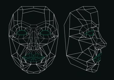 Robot face line art: front and side.