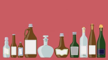 Alcohol bottles illustration