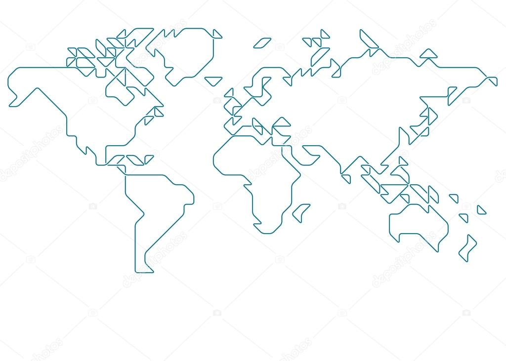 World map drawn stock vector vectorielle 71411691 world map drawn with thin line on a invisible grid of rounded squares and triangles vector by vectorielle gumiabroncs Image collections