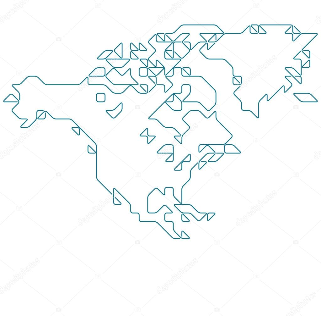 North America map drawn with thin line Stock Vector