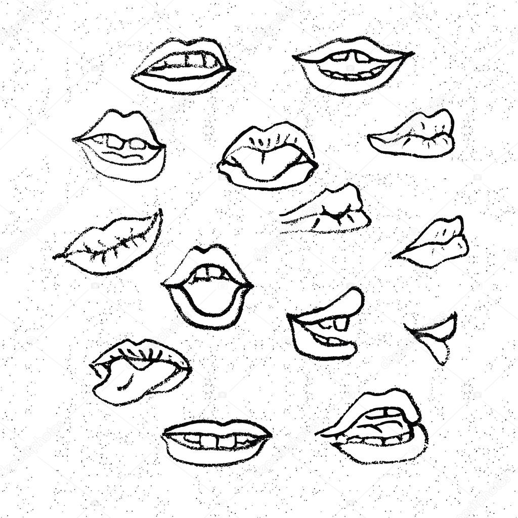 Stock Illustration Cartoon Mouth Icons on cartoon lips clipart