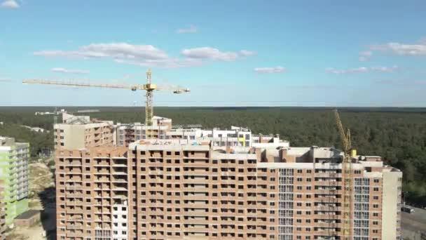 Neubau. Bau von mehrstöckigen Wohnungen. Ukraine. Kiew. Luftaufnahme.