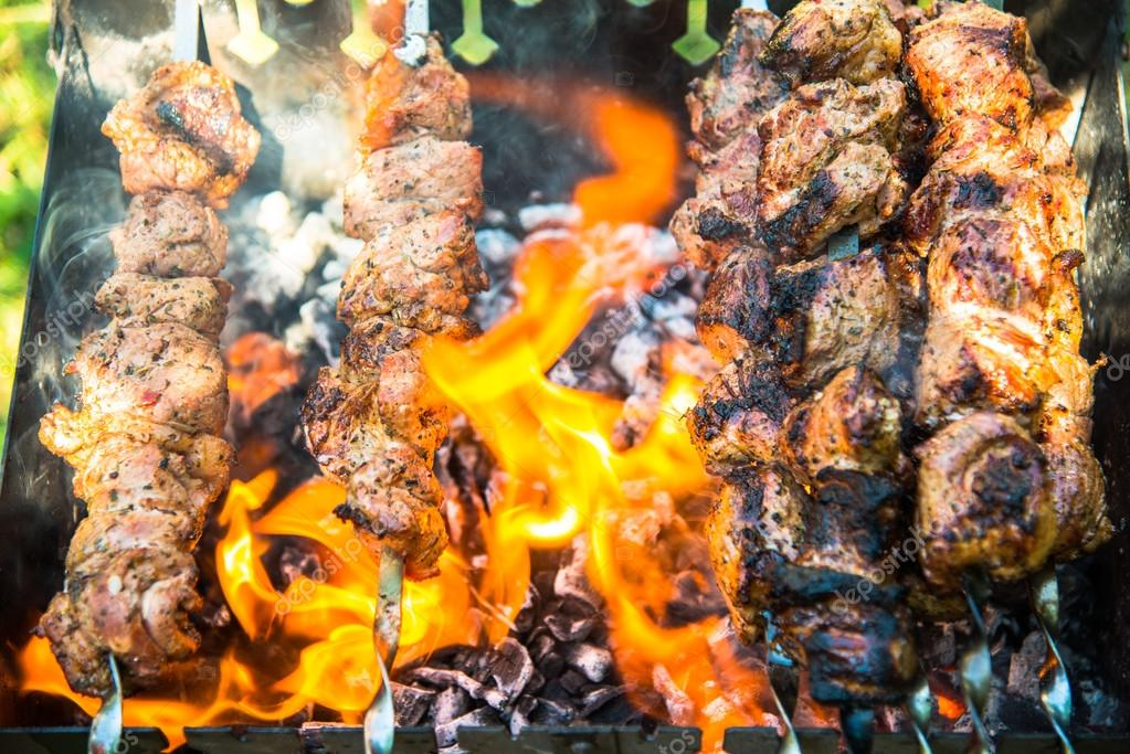 Meat cooked on the grill