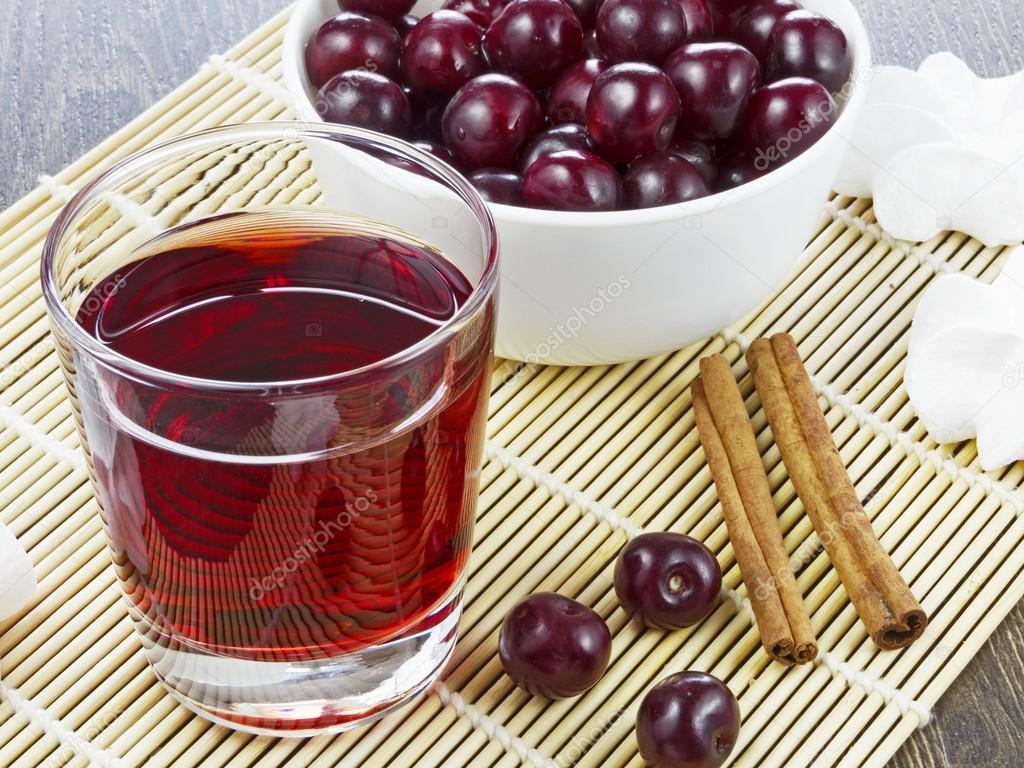 Cherry juice in a glass