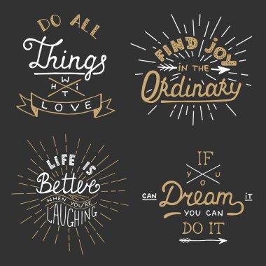 Set of vector inspirational lettering