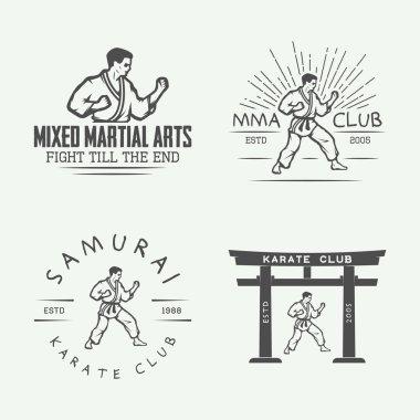 Set of vintage karate or martial arts logo