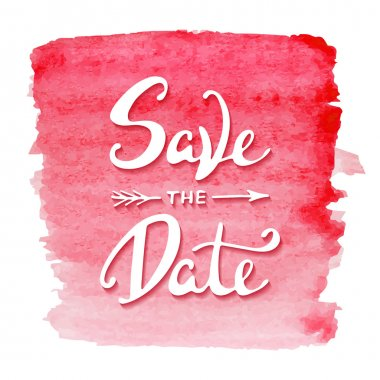Save the Date invite card vector template with modern calligraphy on red watercolor background.